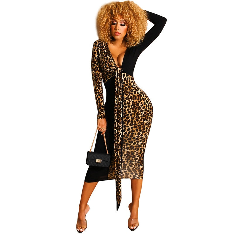 The Frenze - 2019 Deep Contrast Leopard Dress - Plus Size Avail