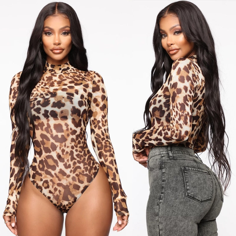 The Frenze- Leopard Print High Neck Mesh Bodysuit