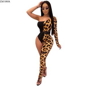 The Frenze - Asymmetrical Leopard Bodysuit Jumpsuit