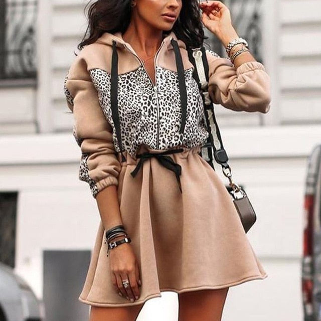The Frenze - The Autumn Animal Print Hoodie Dress