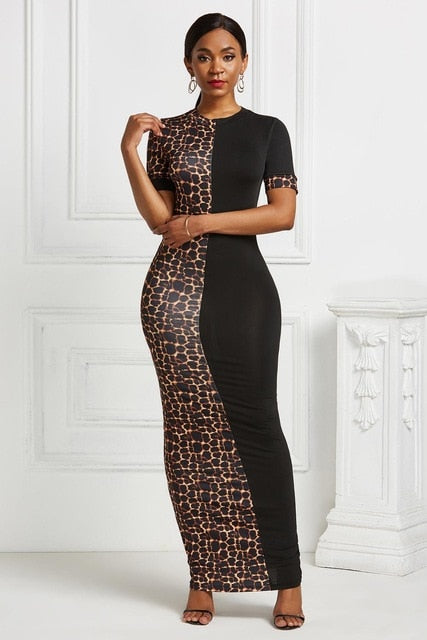 The Frenze- A Contrast Print Bodycon Maxi Dress