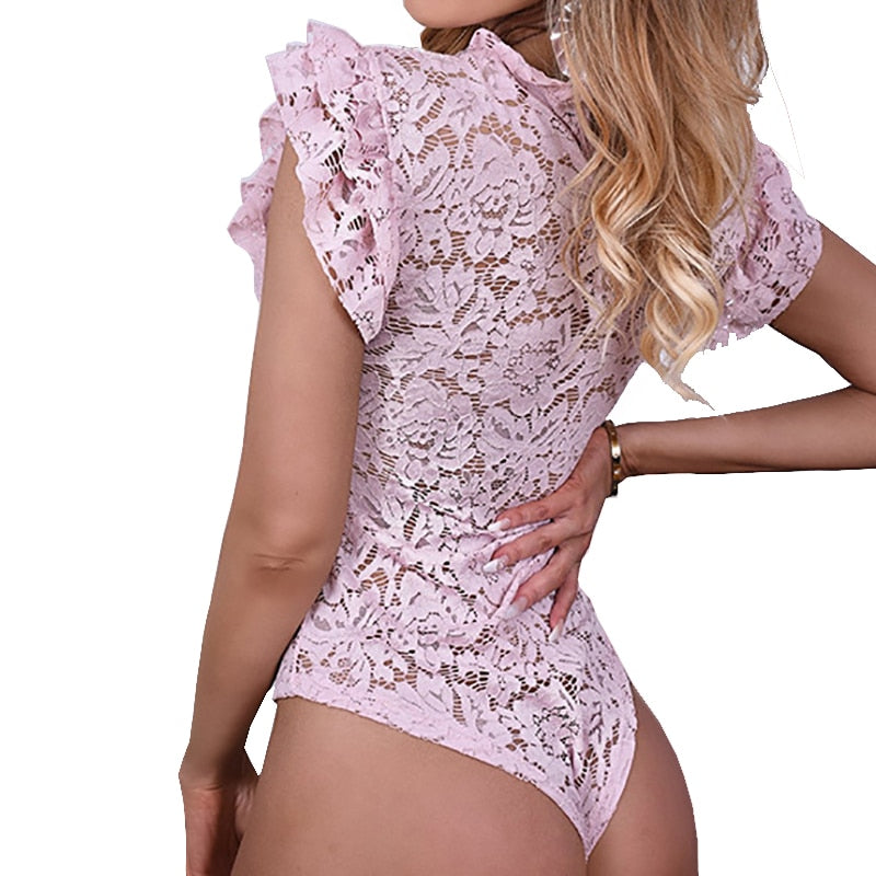 The Frenze - Solid Lace Overlay Bodysuit