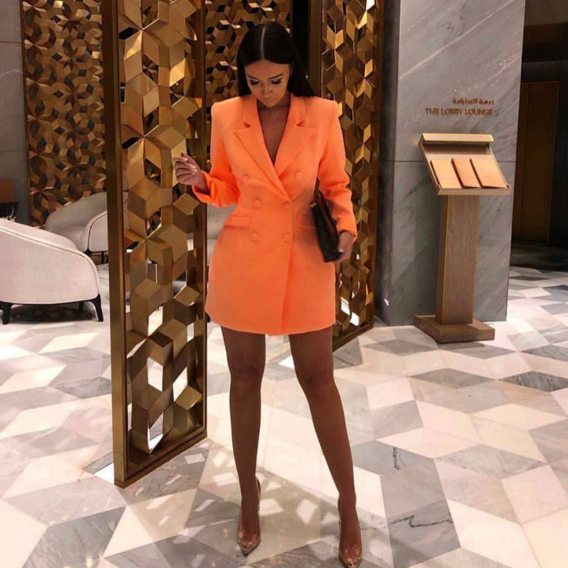 The Frenze - 2019 Autumn/Winter Orange Blazer Bodycon Dress