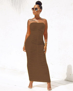 The Frenze- A Ruched Wrap Maxi Dress