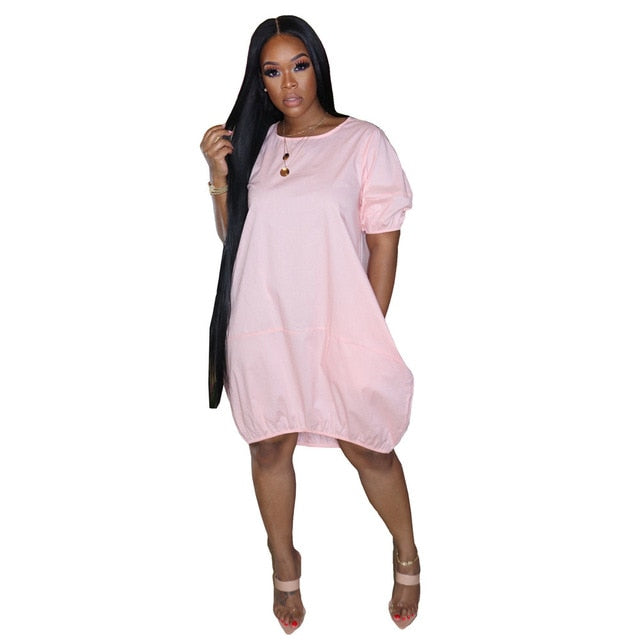 The Frenze-A Loose O Neck Tee Midi Tunic Dress