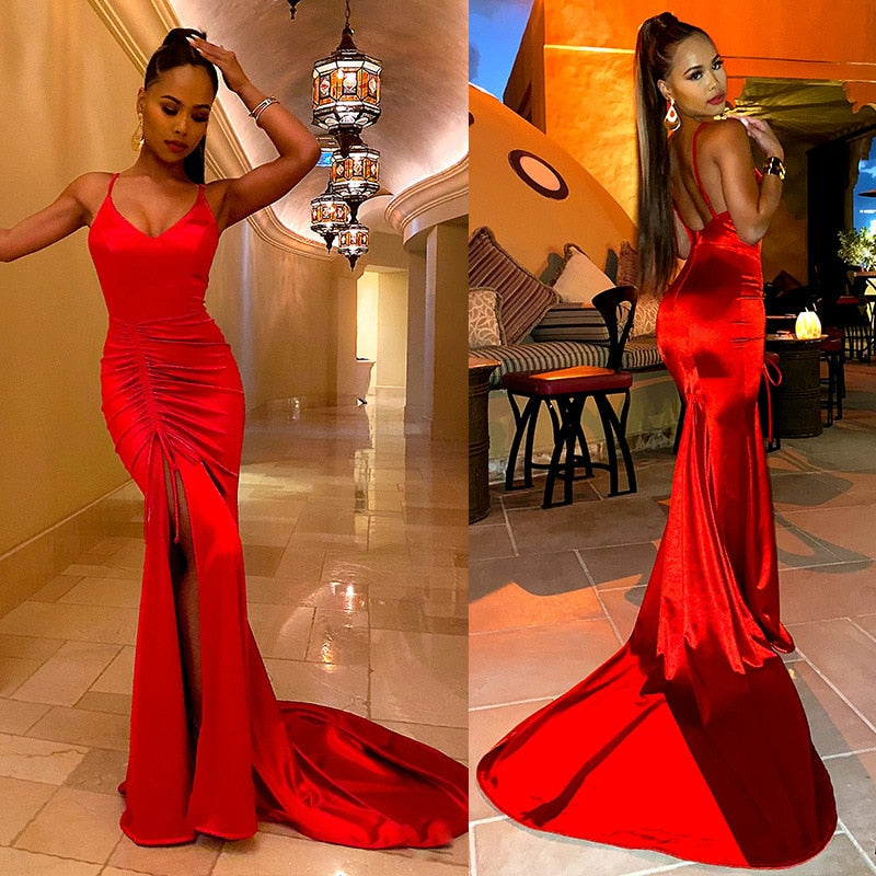 The Frenze- A Silky 2020 Red Maxi Dress