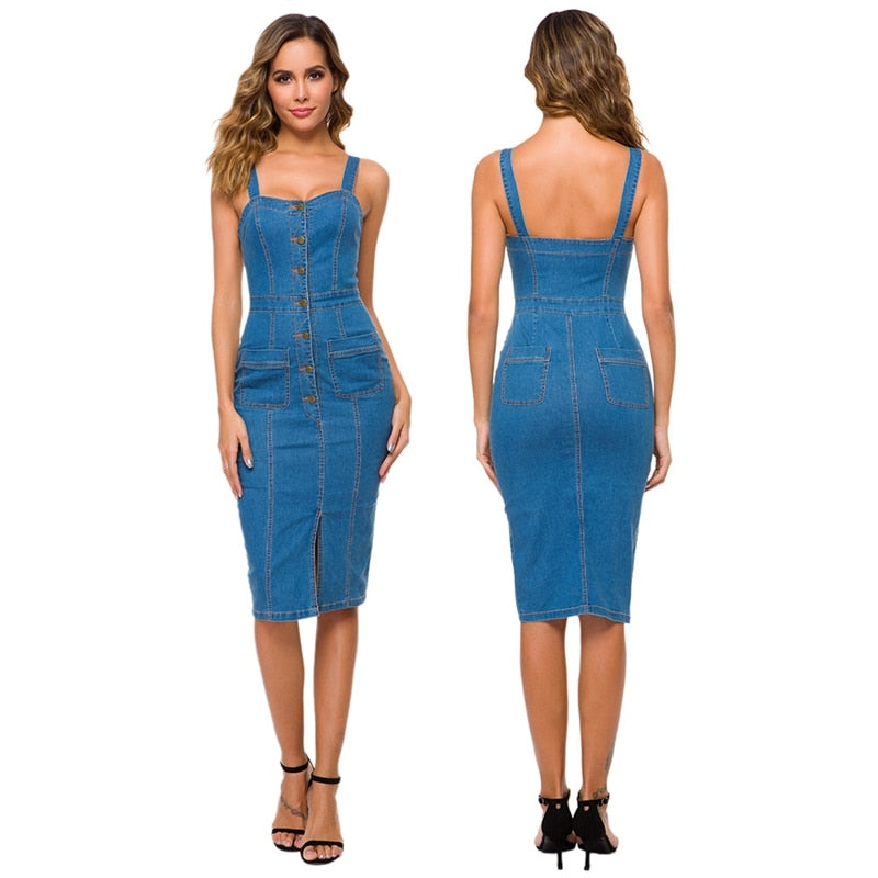 The Frenze-Denim 2020 Button Blue Midi Dress