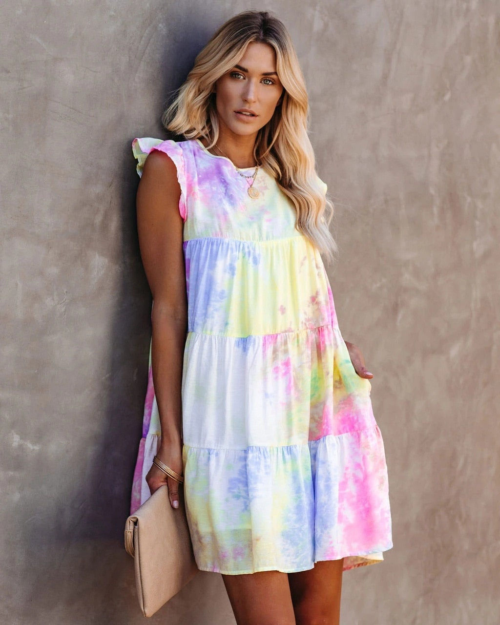 The Frenze - Light Tie Dye Summer 2020 Pocket Dress