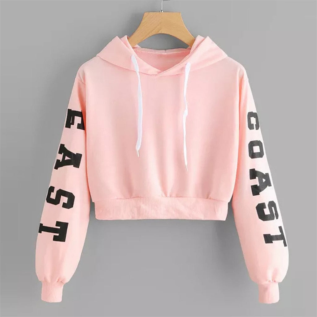The Frenze - East Coast Printed Fashion Crop Top Hoodie