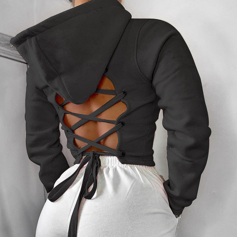 The Frenze - 2020 Laced Up Backless Fashion Crop Top Hoodie
