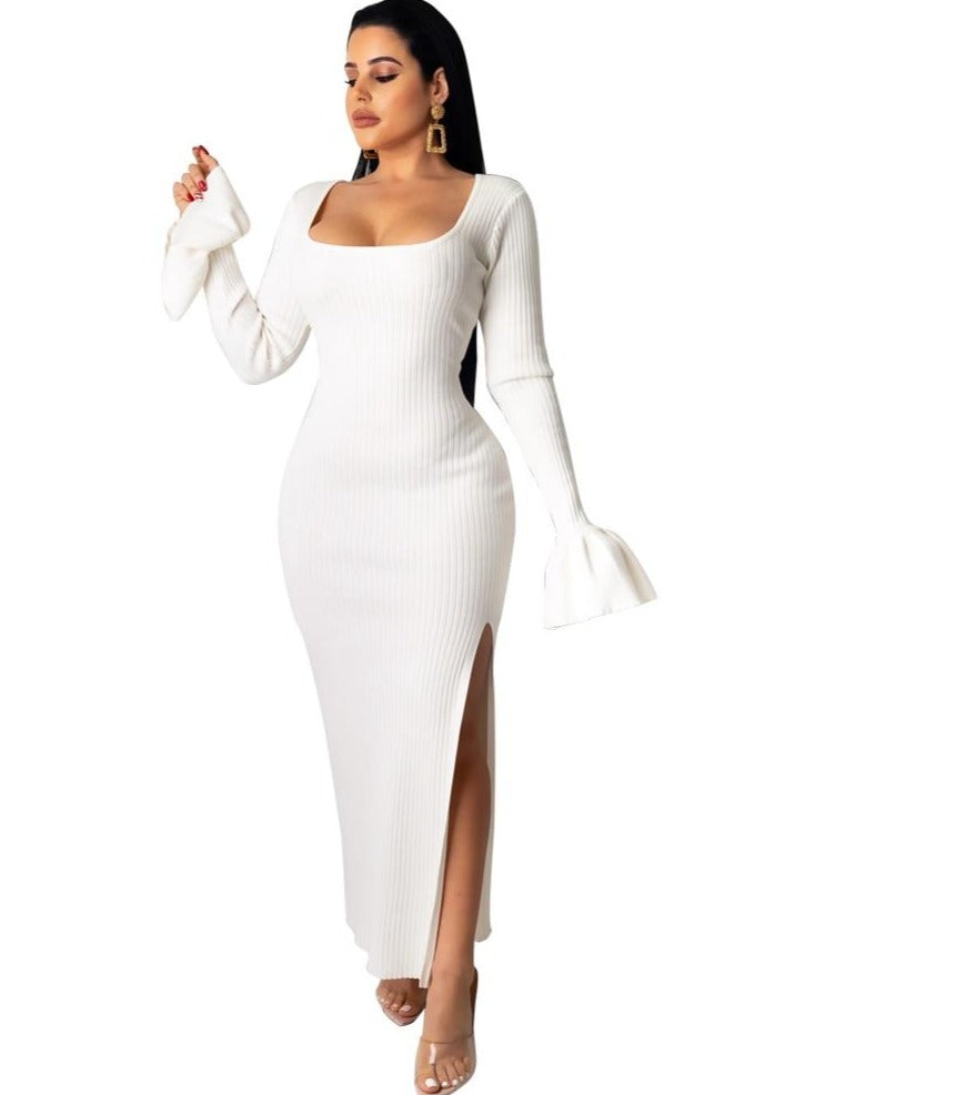 The Frenze - 2020 All White Flare Sleeve Bodycon Sweater Dress