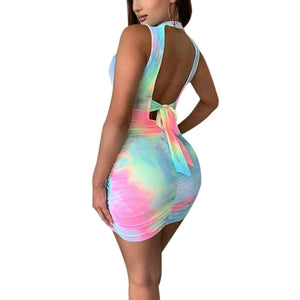 The Frenze - Sexy Waist Tie Dye Bandage Hollow Out Dress