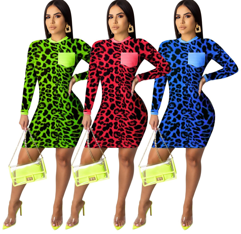 The Frenze - A Colorful Leopard Splicing Bodycon Dress
