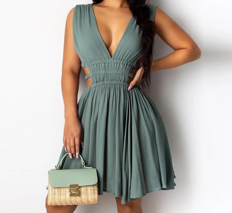 The Frenze - V Neck Ruched Casual Dress