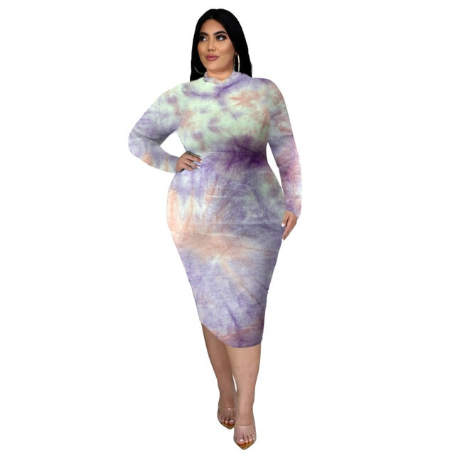 The Frenze - Plus Size Tie Dye Vintage Bodycon Dress