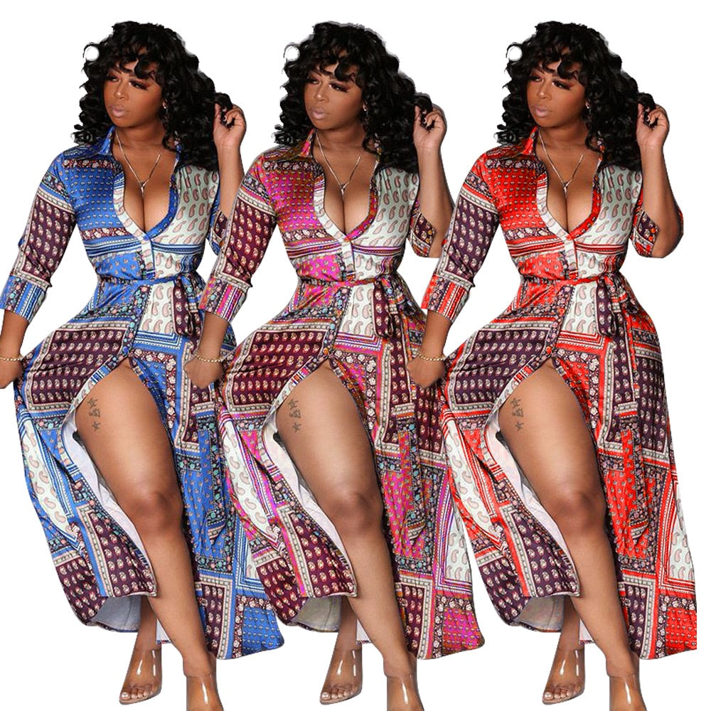 The Frenze - Vintage Bandana Print Fashion Maxi Dress