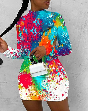 The Frenze - A Splash Of Paint Bodycon Party Dress
