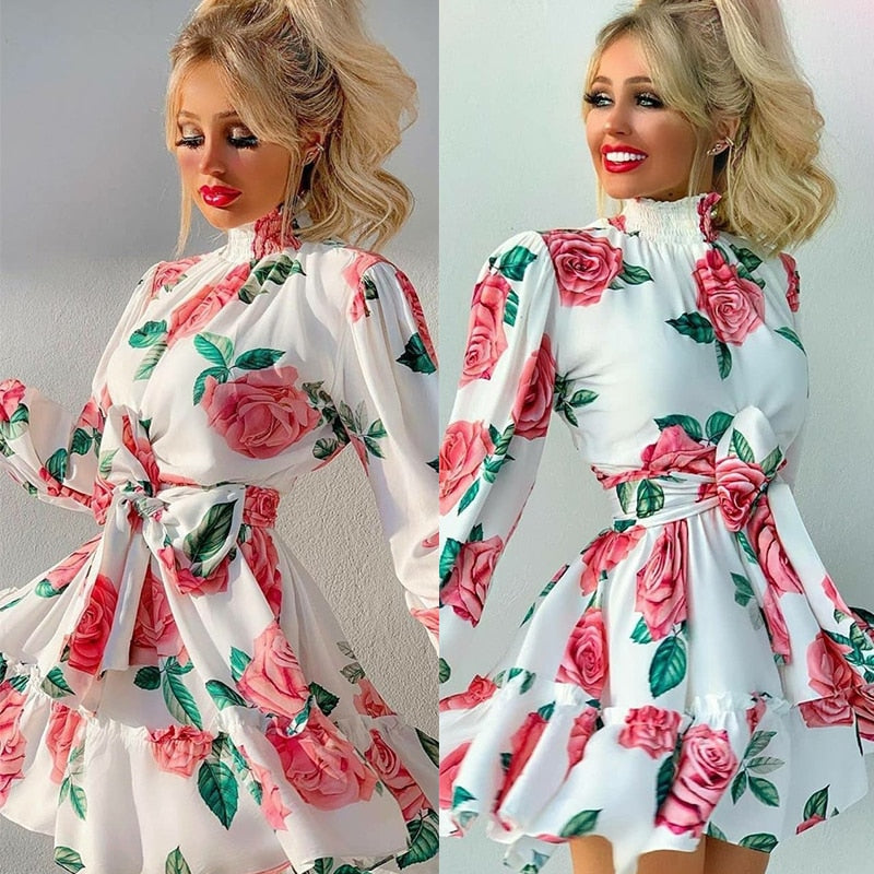 The Frenze - A Floral Beginning High Waist Holiday Dress