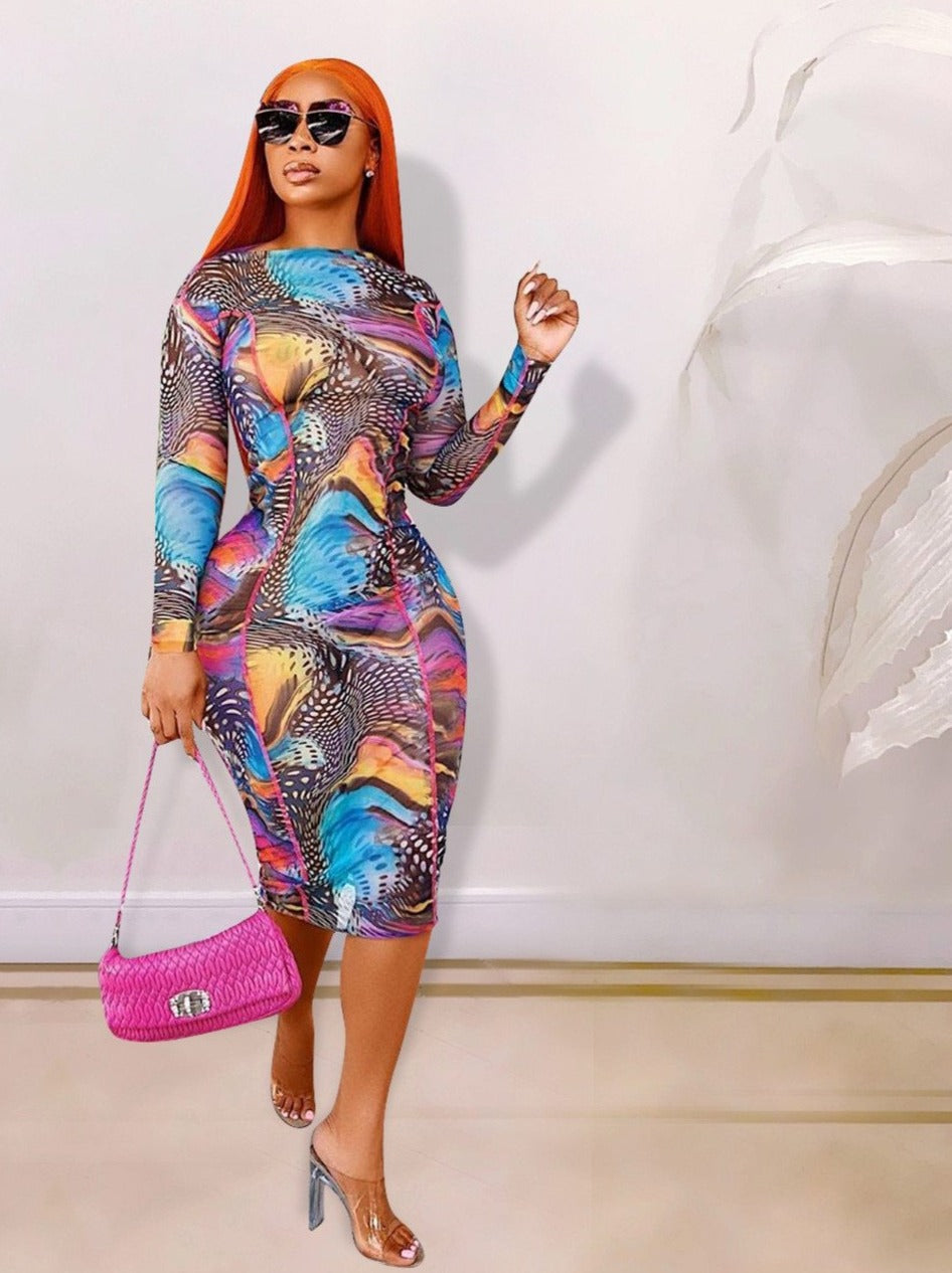 The Frenze - A Florald Perspective Bodycon Dress - Plus Size Avail