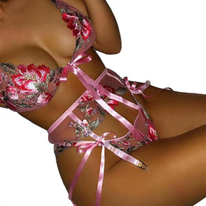 The Frenze - A Beautiful Flower Lace Embroidered Bra & Panty Set