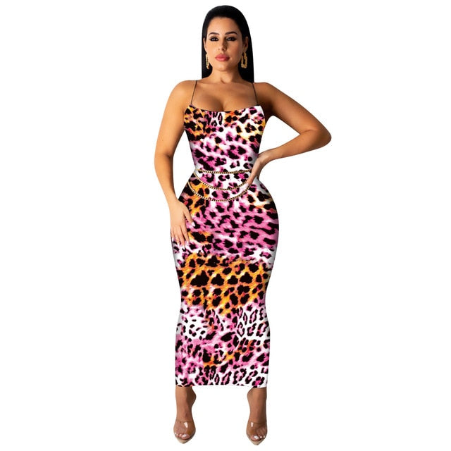 The Frenze - 2020 Leopard Spaghetti Strap Maxi Bodycon Dress