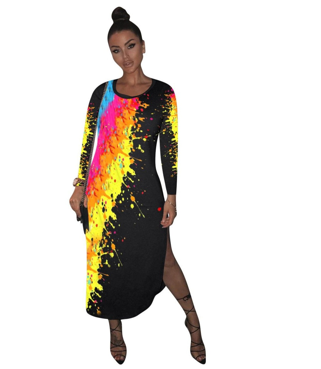 The Frenze - Galaxy Paint Autumn Maxi Dress