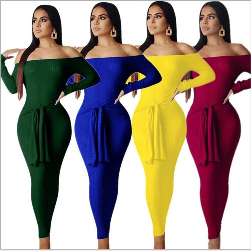 The Frenze - Bolden Colors 2020 Autumn Knitted Bodycon Maxi Dress