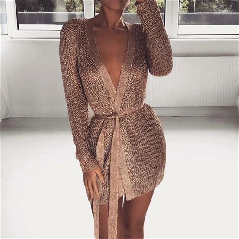 The Frenze - 2020 Golden Hollow Rose Nightclub Mini Dress