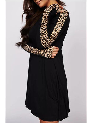 The Frenze - A Black Leaopard A Line Swing Dress