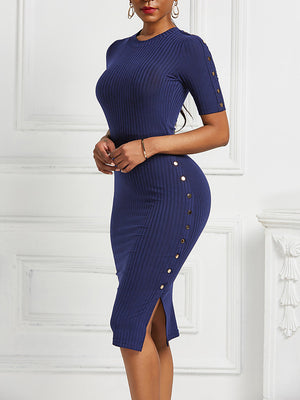 The Frenze- Button Up Summer / Fall Sheath Dress