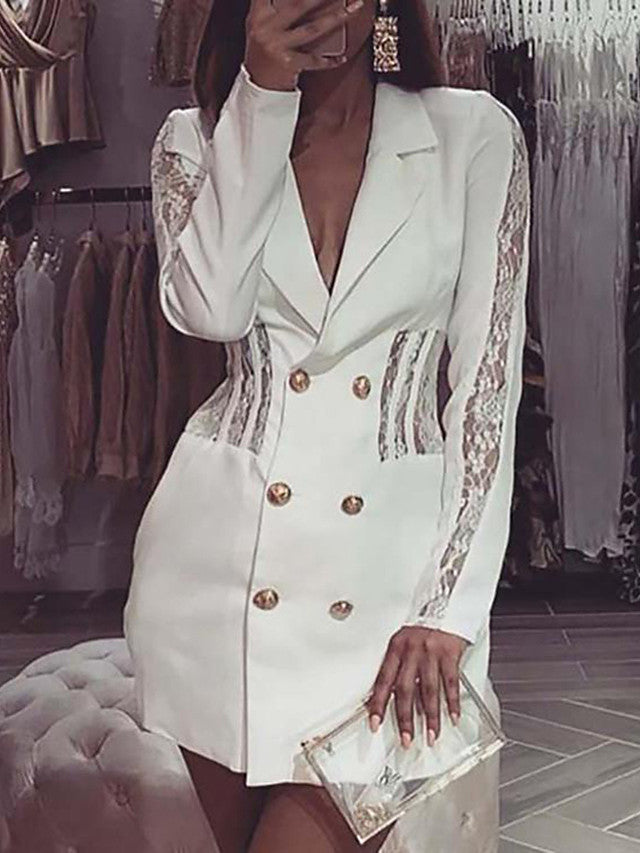 The Frenze - 2020 All White Lace Blazer Mini Dress