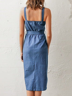 The Frenze- Denim Button Up Waist Tie Dress