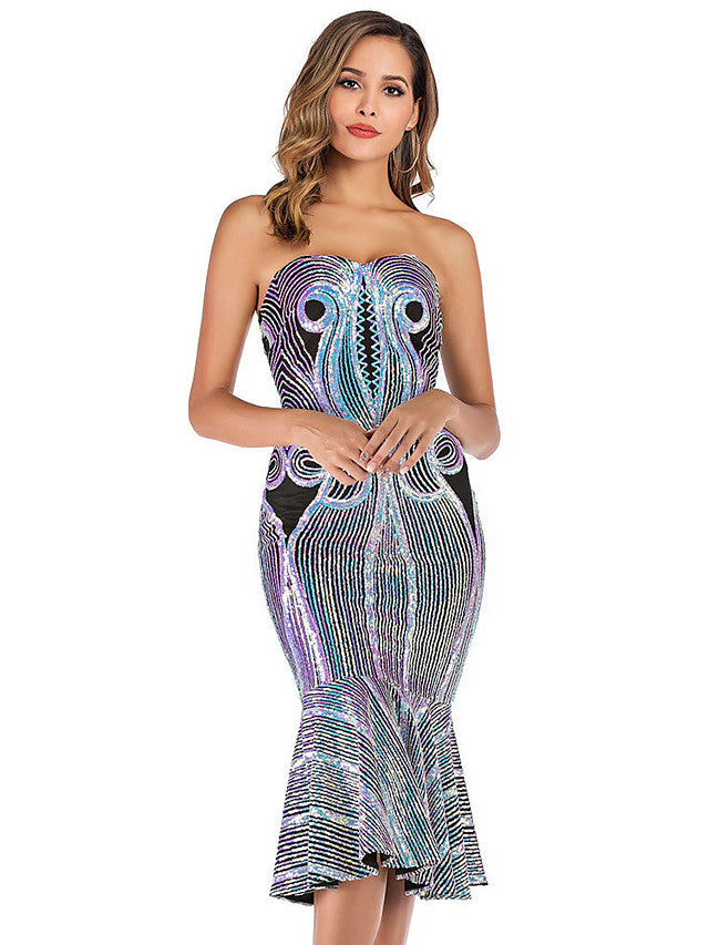 The Frenze - A Quinned Embroidered Mermaid Dress