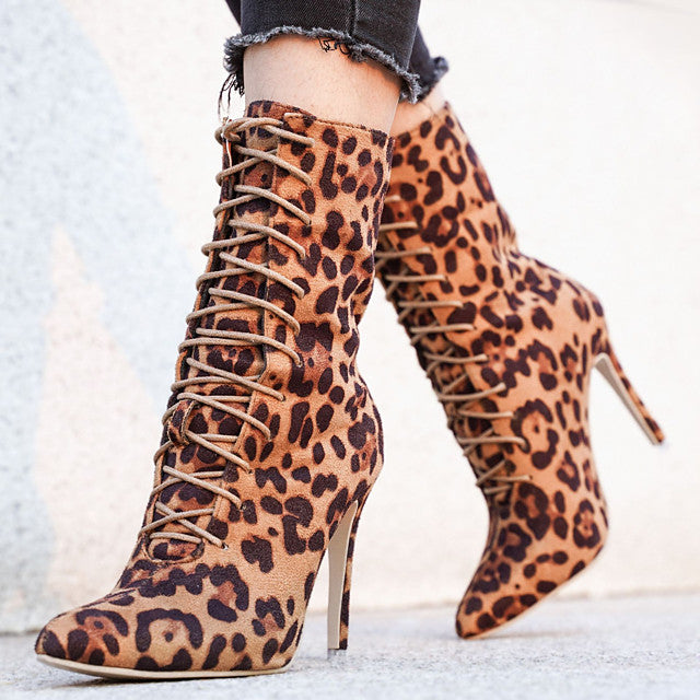 The Frenze - Pointed Toe Leopard Print Calf Boots
