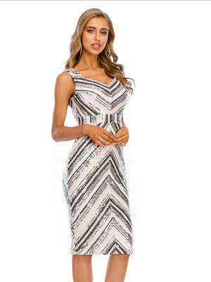 The Frenze - A Belted Striped Quinned Dress