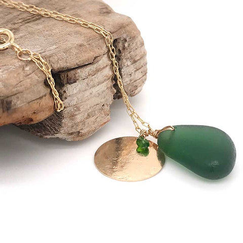 green seaglass necklace with solid 14k gold disc charm kriket broadhurst jewellery Sydney
