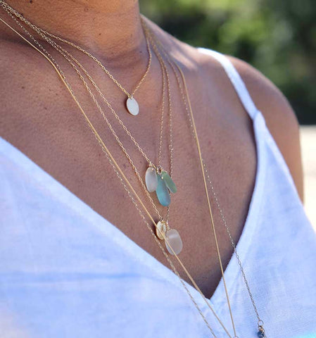 layered necklaces authentic sea glass with disc charm kriket broadhurst jewellery Sydney