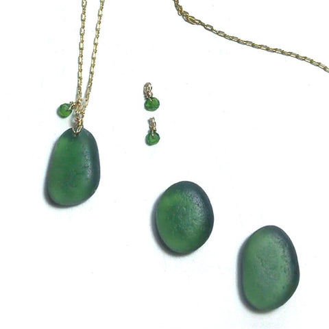 Choosing the perfect piece of green seaglass for a pendant necklace Kriket Broadhurst jewellery