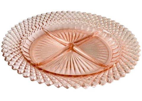 depression glass pink glass serving platter