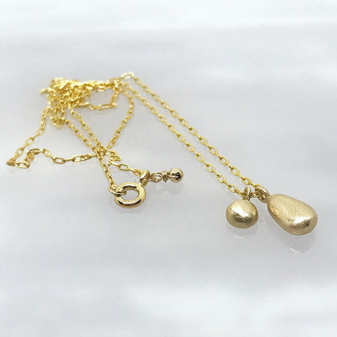 gold nugget necklace teardrop charm solid gold kriket broadhurst handmade jewellery