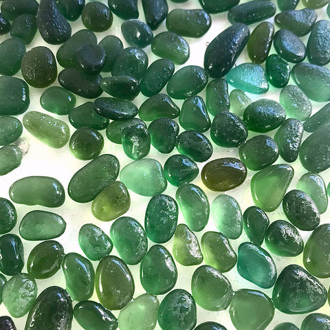 green seaglass different colours and shapes Kriket Broadhurst jewellery
