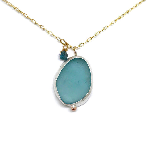 kriket broadhurst seaglass jewellery Japanese aqua bezel set in silver on a gold chain necklace with a rough cut blue diamond