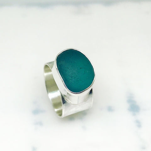 teal green silver seaglass ring