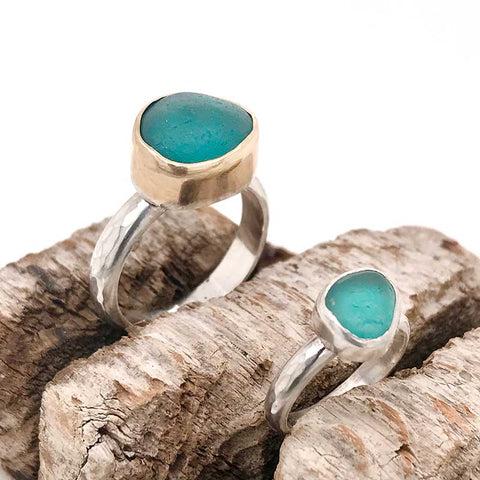 teal sea glass ring sterling silver and 14k gold kriket broadhurst jewellery