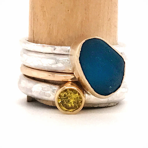 seaglass and yellow sapphire ring set
