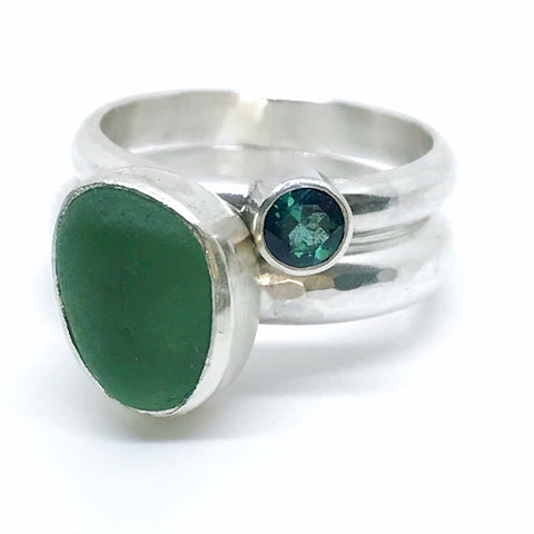 green seaglass stacking rings with blue green tourmaline