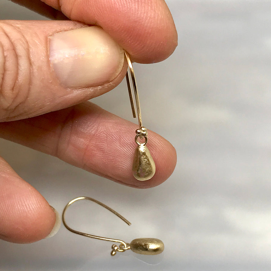 Gold Teardrop Seaglass Charm Earrings - kriket-broadhurst