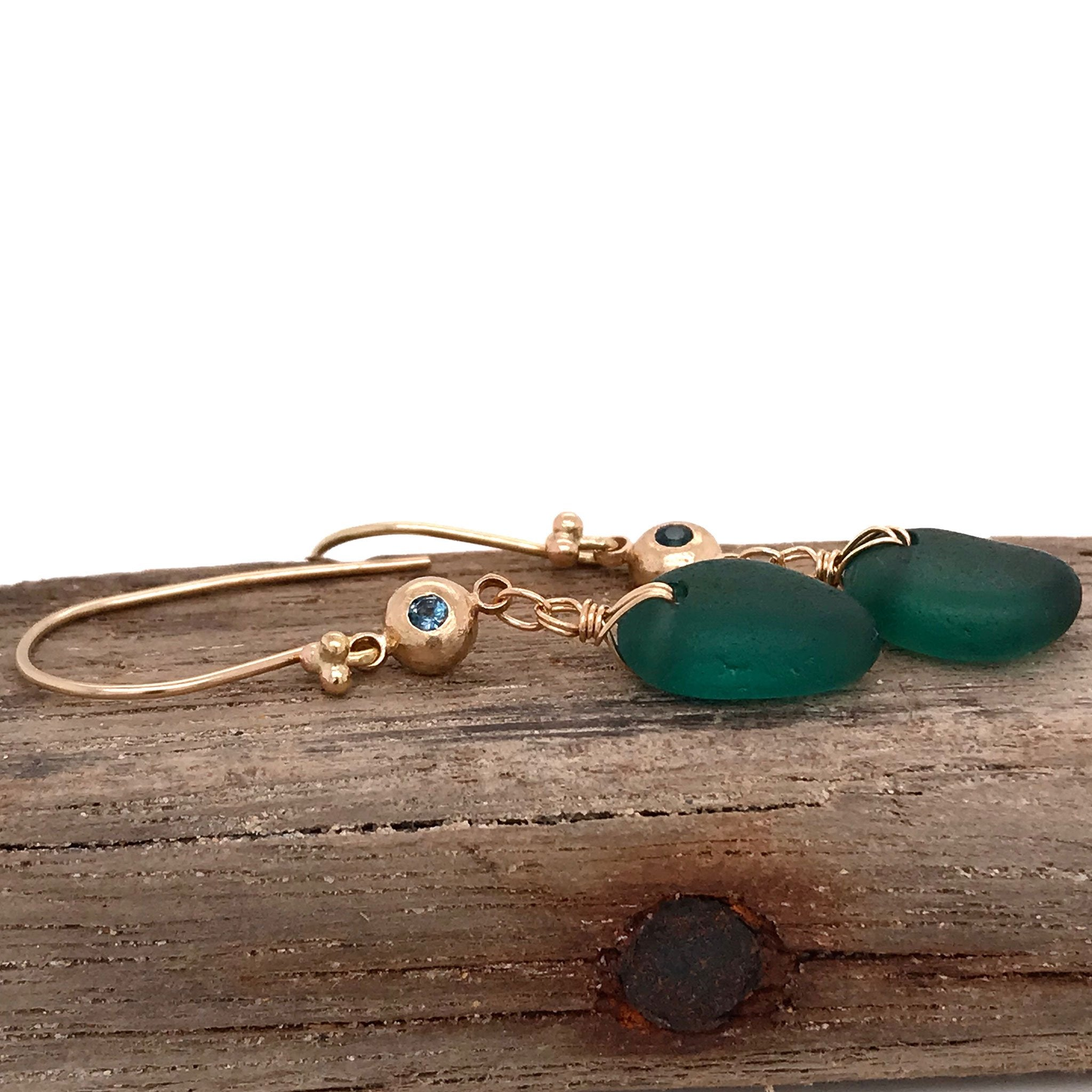 teal green earrings 14k gold pebbles set with tourmaline stones Kriket Broadhurst jewellery