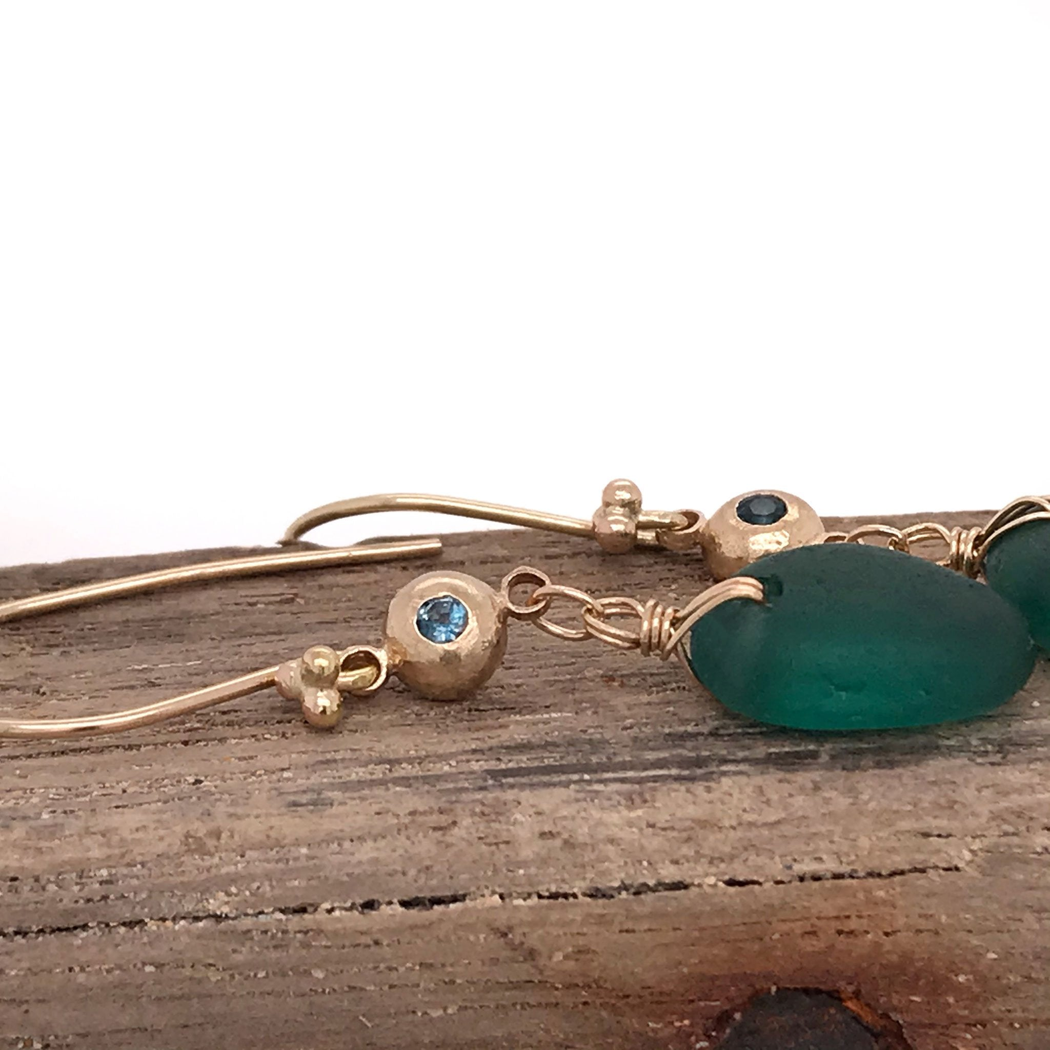 14k gold earrings with solid gold pebbles and rare teal seaglass Kriket Broadhurst jewelry