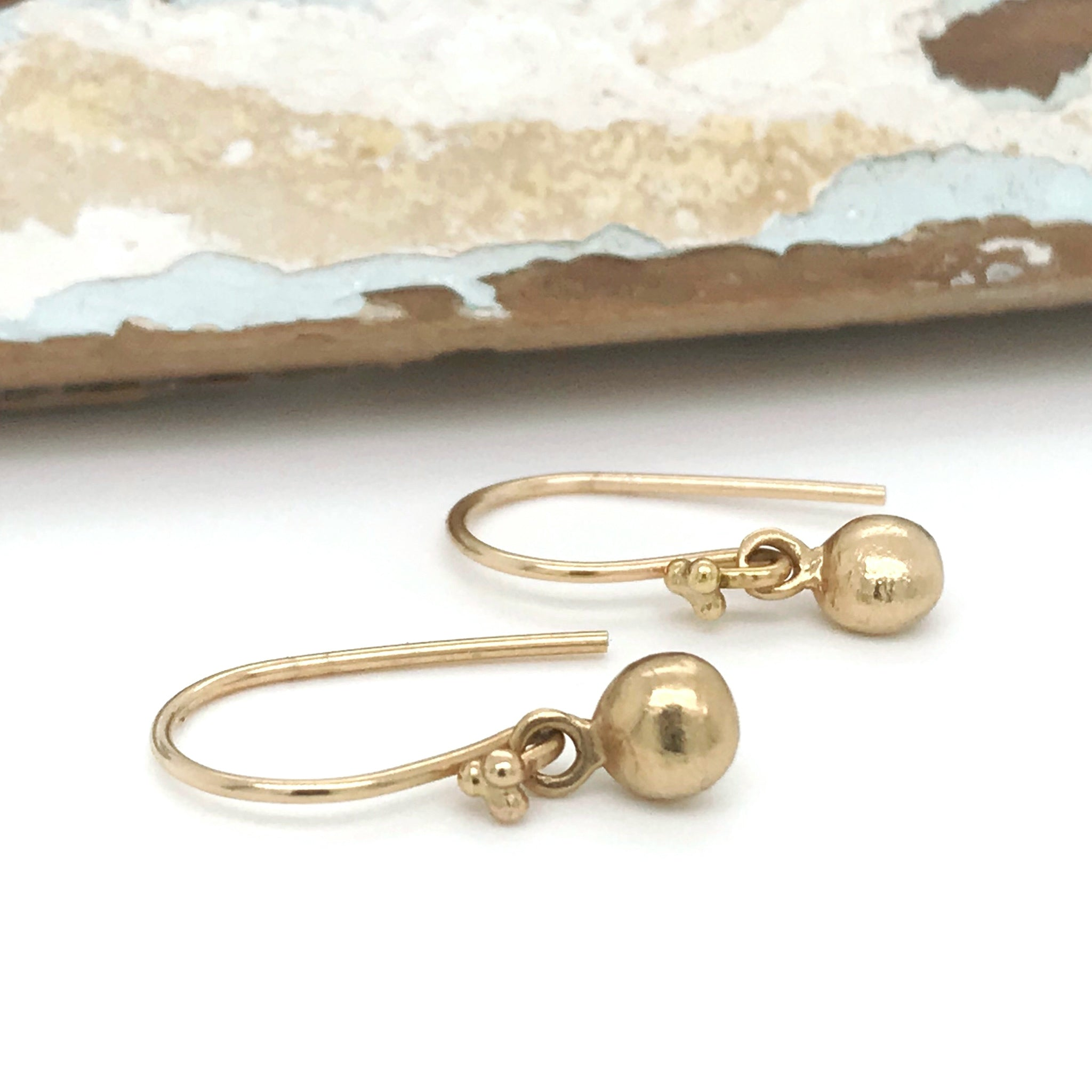 gold earrings pebble charms kriket broadhurst jewellery